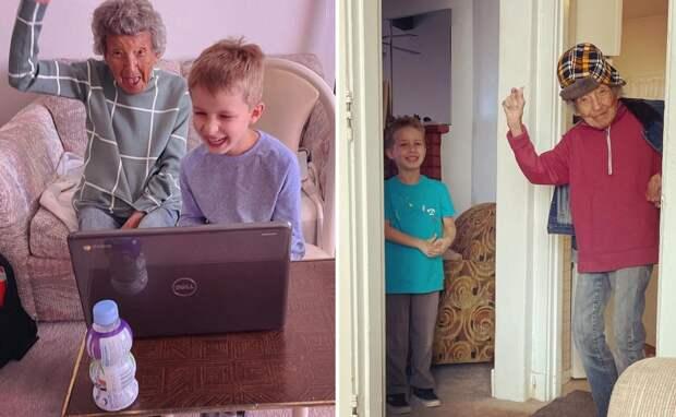 102-летняя бабушка занялась физкультурой с внуком и стала звездой соцсетей