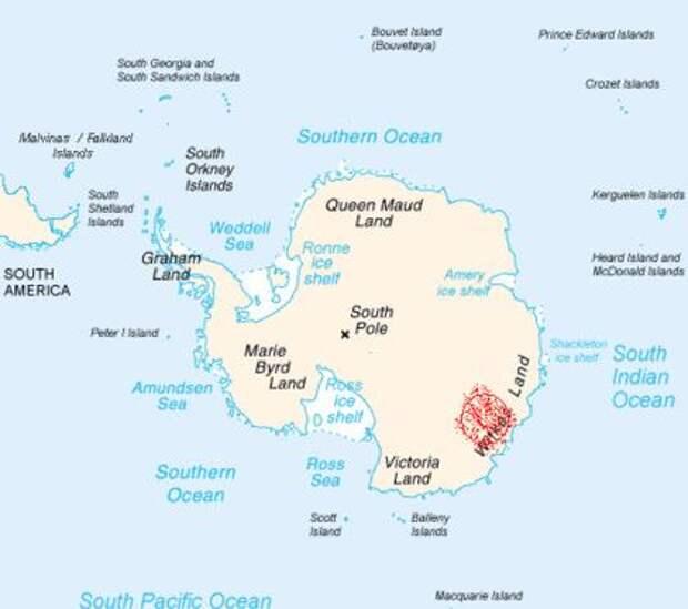 300-километровый металлический объект скрывается подо льдом Антарктиды