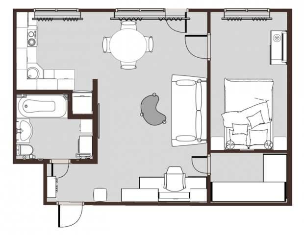 Схема перепланировки двухкомнатной «хрущевки» площадью 42 кв. метра. | Фото: prosto-ma-ma.ru.
