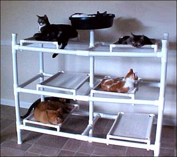 Кошачие дома из труб пвх