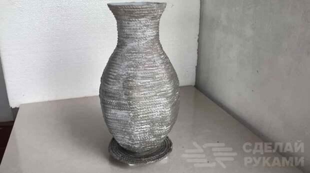 Красивая цветочная ваза из цементного раствора и веревки