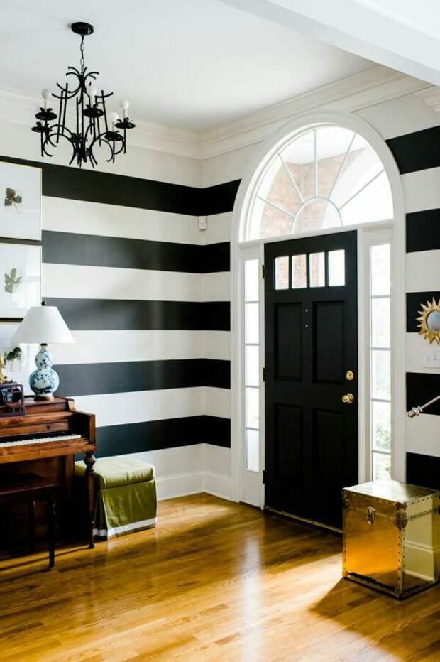 Акцентные чёрно-белые стены (подборка)
