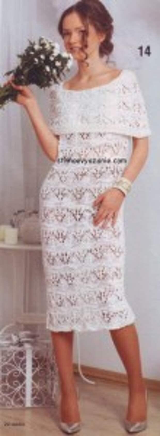 Вечерние вязаные платья (подборка)