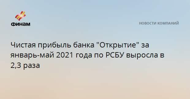 """Чистая прибыль банка """"Открытие"""" за январь-май 2021 года по РСБУ выросла в 2,3 раза"""