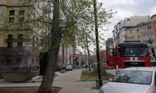 На тротуаре в центре Архангельска загорелся мусорный бак
