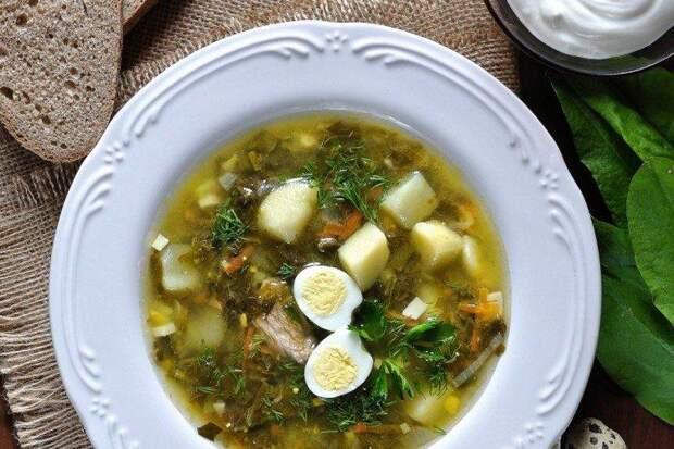 Щавелевый суп с мясом и помидорами