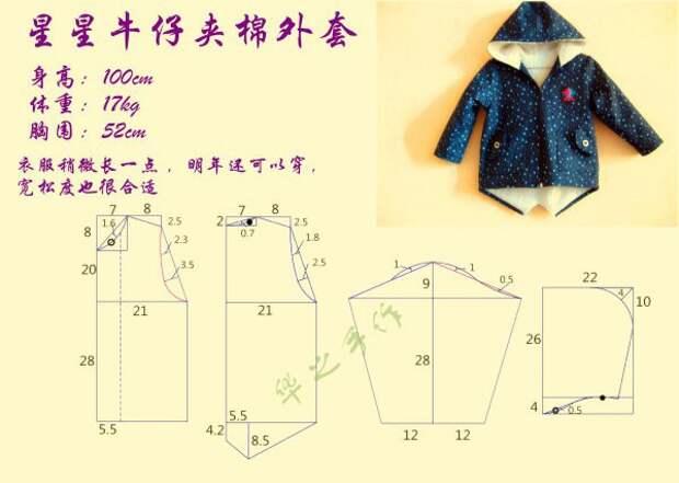 Выкройка кофты-курточки на рост 100 см.