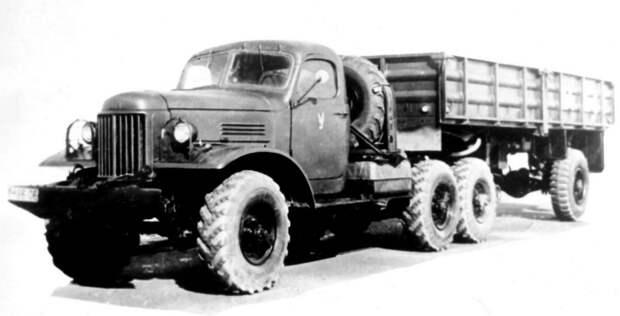 Специальный тягач ЗИЛ-157В с гидроприводом колес полуприцепа ММЗ-584 (из архива НИИЦ АТ) авто, автопоезд