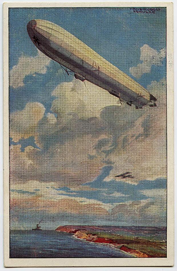Цеппелин над Ла-Маншем. Немецкая открытка выпуска 1914-1917 годов