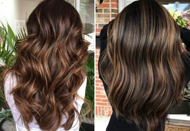 шоколадный цвет волос с мелированием