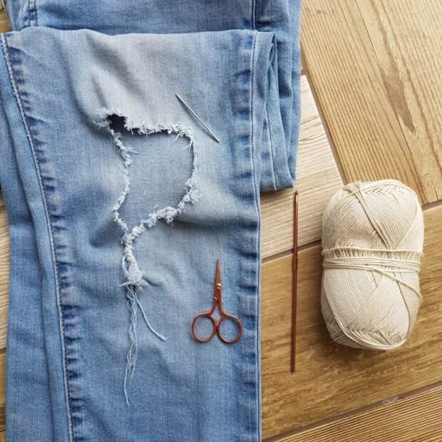 Креативная заплатка на джинсах: теперь они выглядят стильно