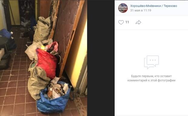 В доме на Хорошевском шоссе личные вещи мешали проходу жильцов