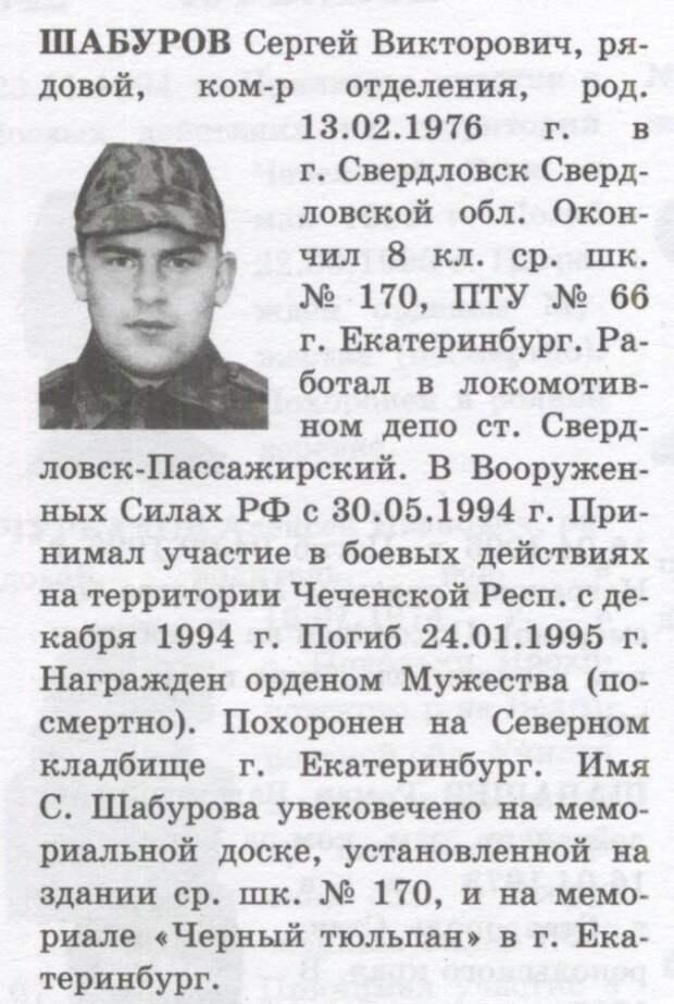 Пробелы в биографии младшего сержанта Шабурова