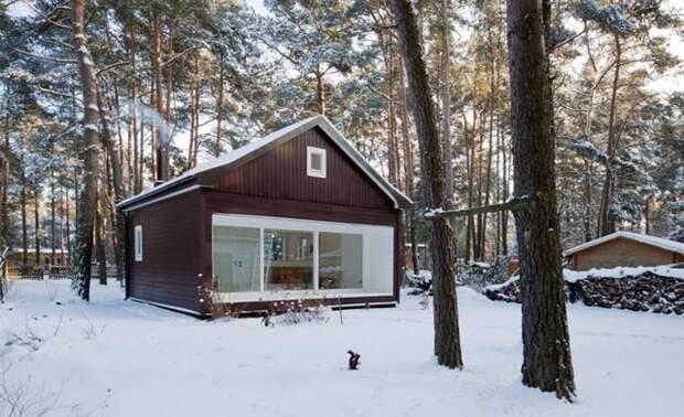 Еще один пример, как из проекта сарая, можно сделать современный и очень привлекательный деревянный дом.