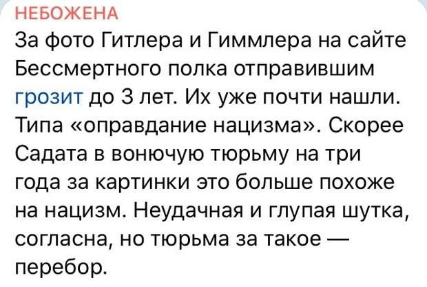 Юлия Витязева: Шутка, от которой за версту веет запахом свежей крови и гарью газовых камер