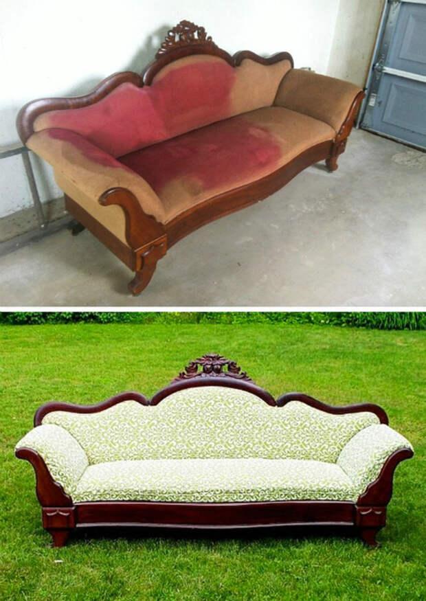 Новая оббивка для диванчика. | Фото: Genial.guru.