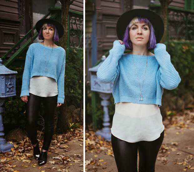 Короткий свитер + белая блузка (трафик)