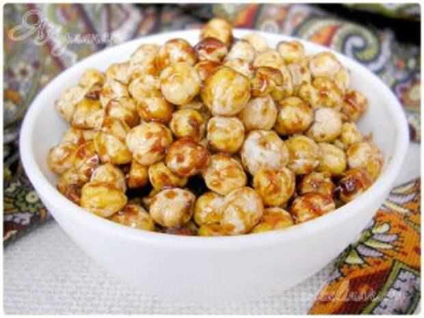 Жареный горох нут, глазированный соевым соусом, рецепт с фото