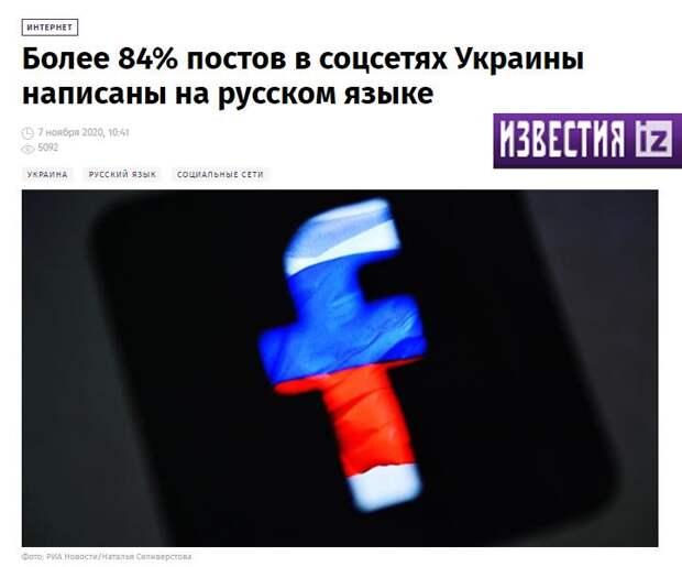 Политика украинских лидеров, направленная против русского языка провалилась: 84% украинцев общаются на русском языке