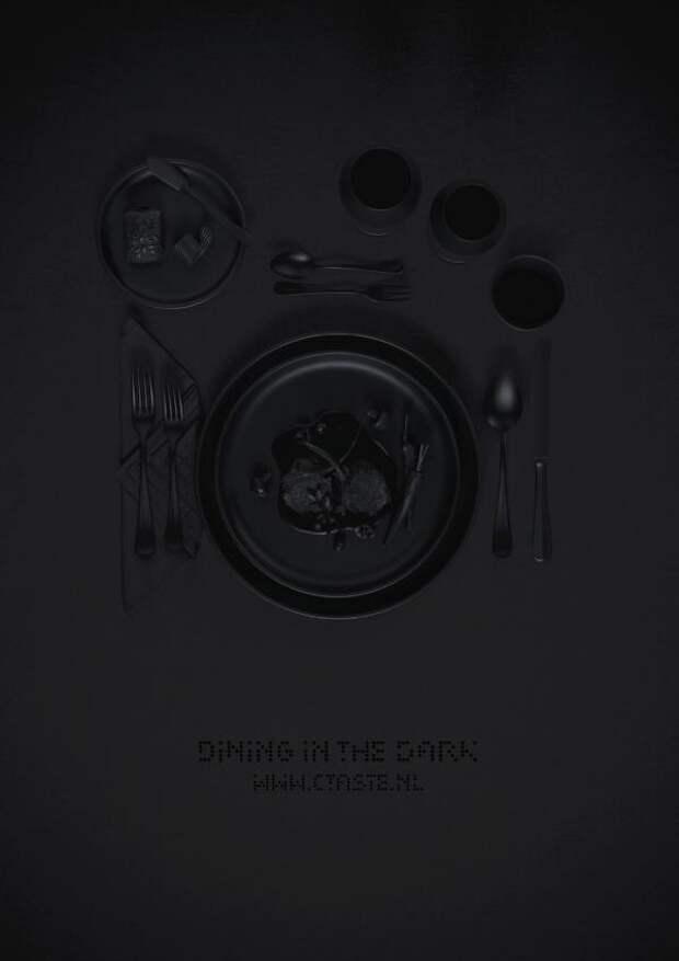 Dining in the dark, Ctaste , FHV BBDO, Amsterdam, Печатная реклама