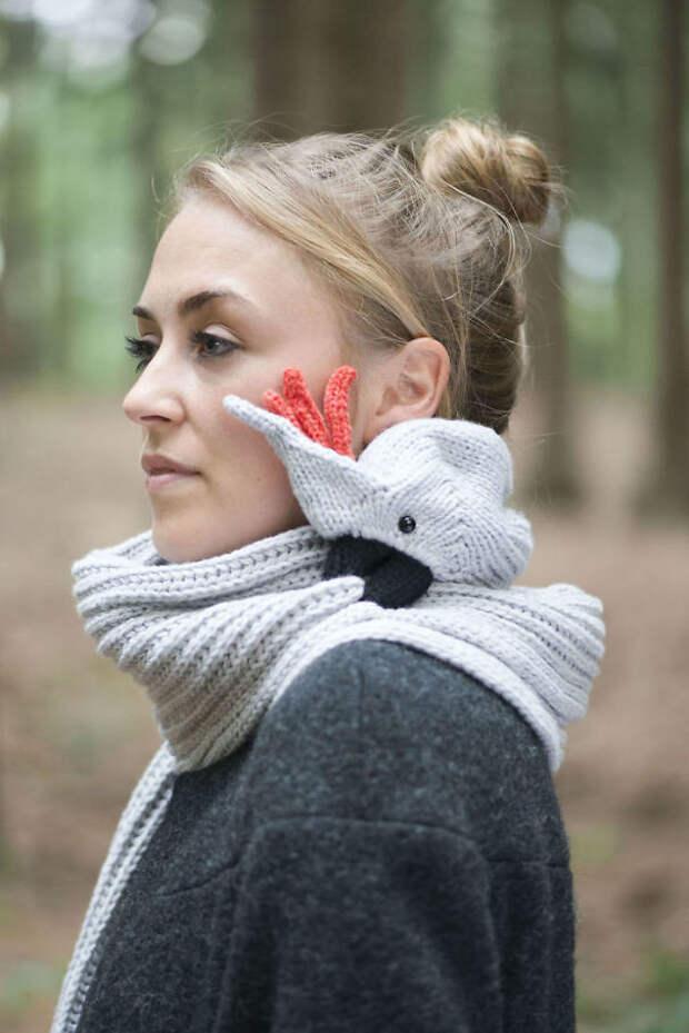 Шарф-попугайчик вязание, новый год, подарки