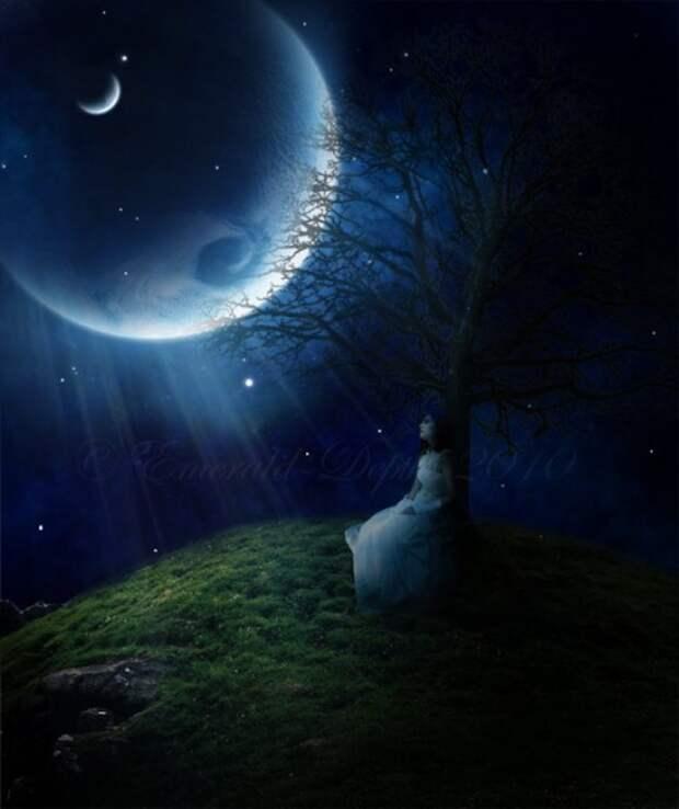 романтичная луна и девушка