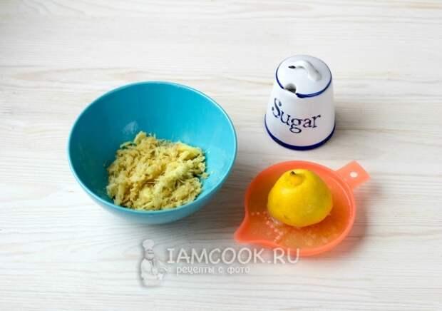Соединить тертый имбирь, сок лимона и сахар