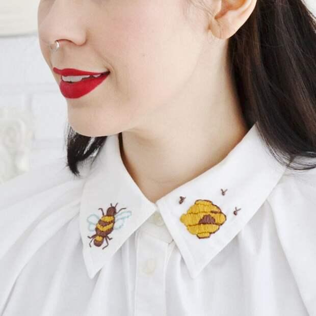 Вышитые воротнички блузок (большая подборка)