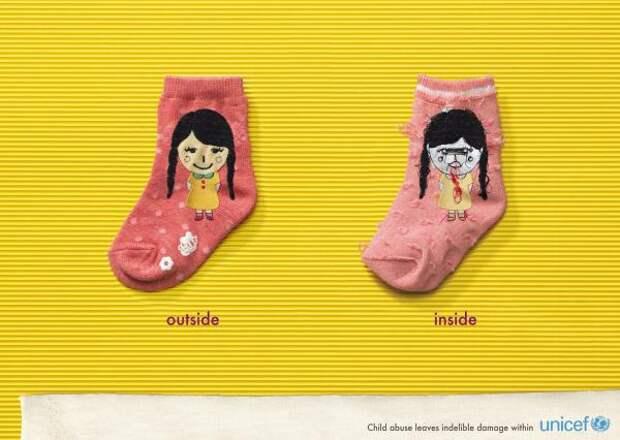Unicef: Socks, Unicef (United Nations International Children's Emergency Fund), Cheil Worldwide, Seoul, United Nations, Печатная реклама
