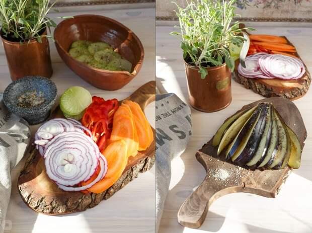 Веер из баклажана запечённый с овощами