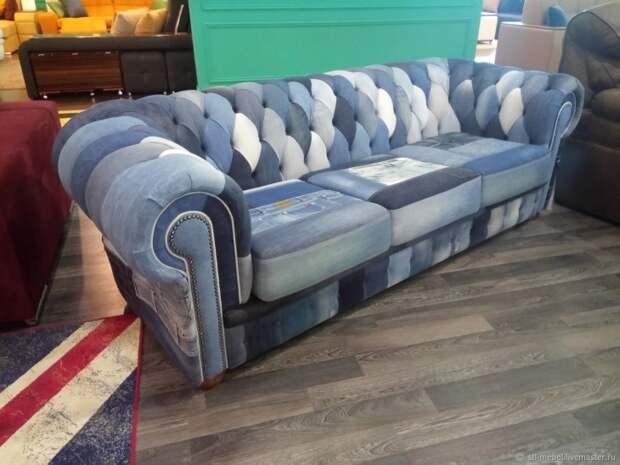 Кресла и диваны пэчворк из джинсовых вещей