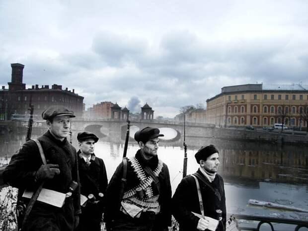 Ленинград 1941-2009 Адмиралтейские верфи. Ополченцы у Старокалинкина моста блокада, ленинград, победа