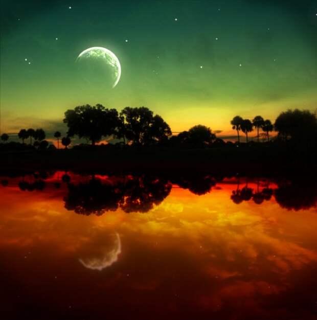 луна на закате