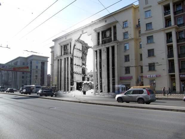 Ленинград 1943-2009 Ивановская-9. Разрушенный дом блокада, ленинград, победа