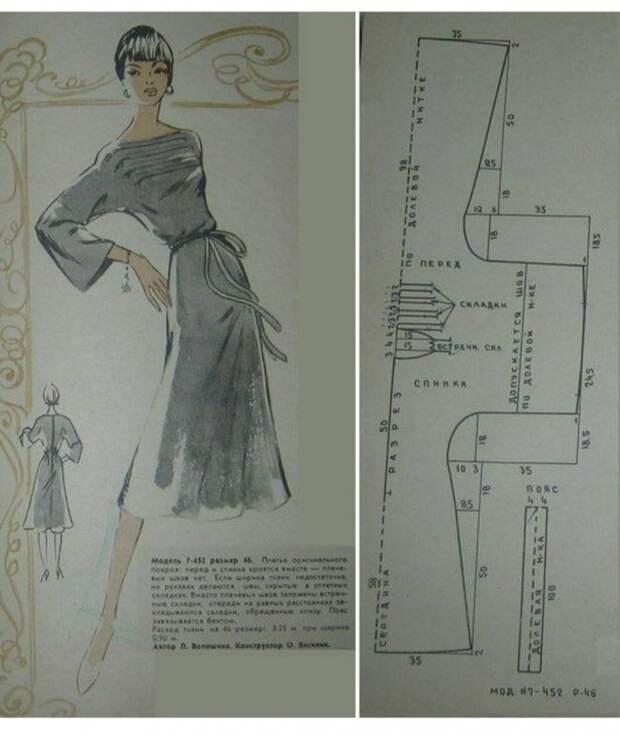 Изящная ретро выкройка платья