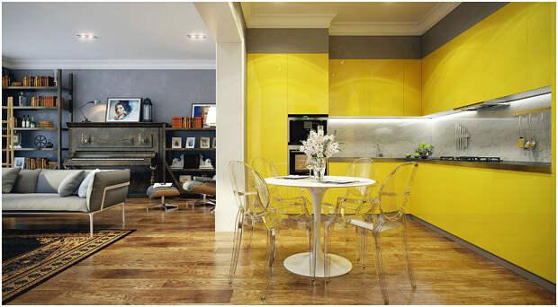 Зонирование квартиры-студии с помощью жёлтого гарнитура