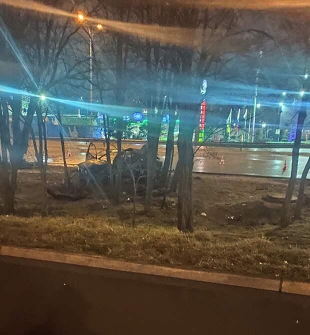 «БМВ» влетела в дерево и загорелась в Симферополе