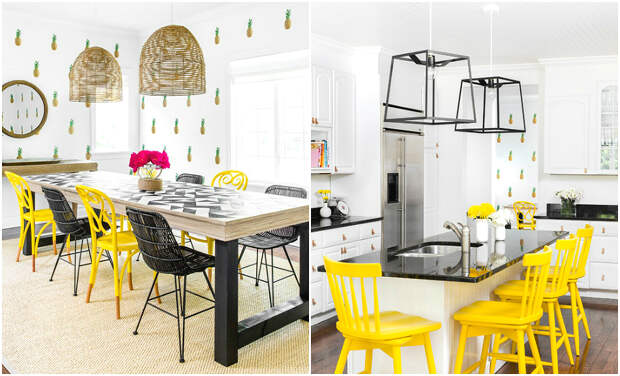 Дизайн обеденной зоны с использованием жёлтых стульев