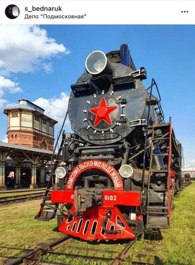 Фото дня: ретро-паровоз на станции «Подмосковная»