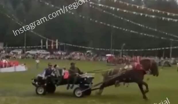 ВТатарстане вовремя Сабантуя лошадь въехала втолпу людей