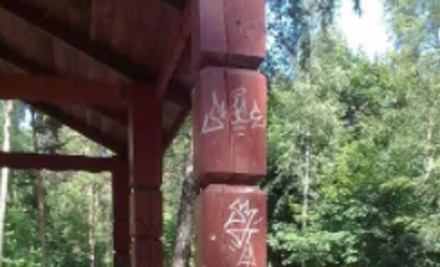 В природном заказнике Выхинский вандальные надписи удалены — Жилищник