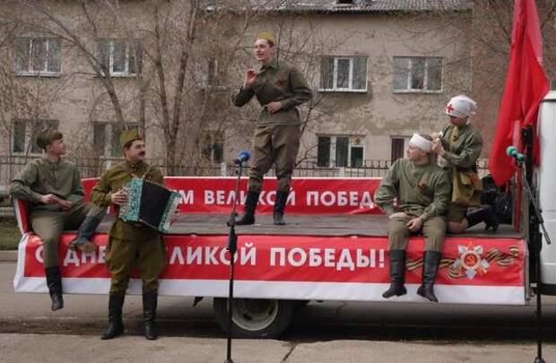 Песни военных лет исполнили в честь ветеранов ВОВ исполнили угольщики СУЭК и артисты ГДК в Бородино