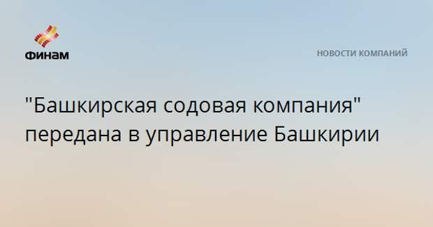 """""""Башкирская содовая компания"""" передана в управление Башкирии"""