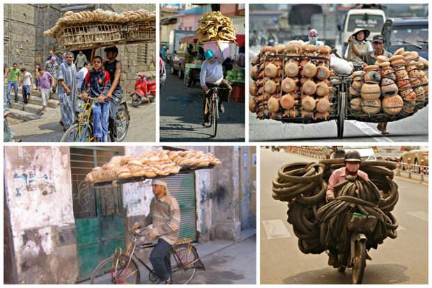 Им удобно? Ну и славно! велосипед, груз, интересное, мопед, мотоцикл, перевозка, смешно, юмор