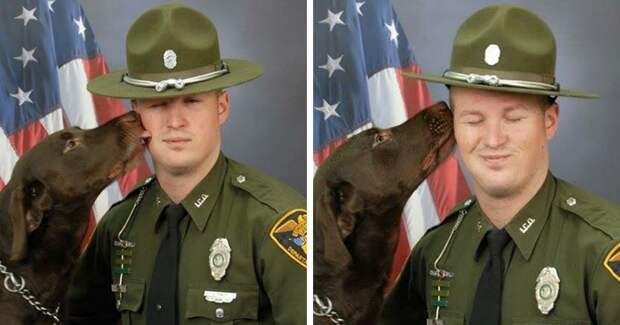 Полицейский пес даже на официальной фотосессии не мог не выразить любовь к хозяину