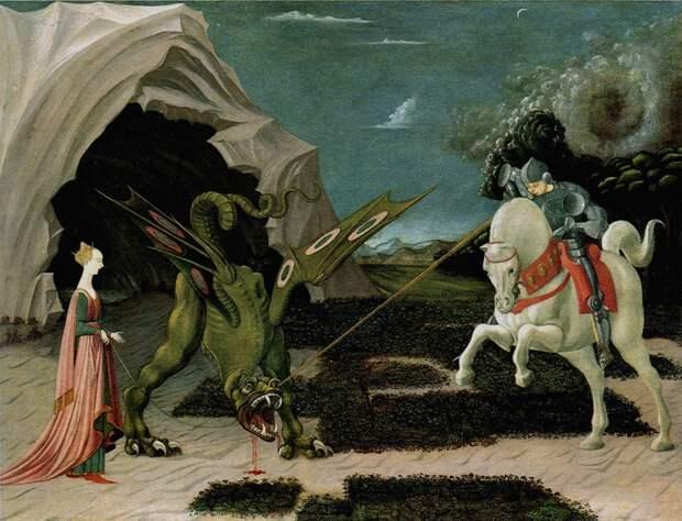 """Паоло Уччелло """"Битва святого Георгия со змием"""". Если заменить виверне голову, то получится нечто похожее на раннего птерозавра."""