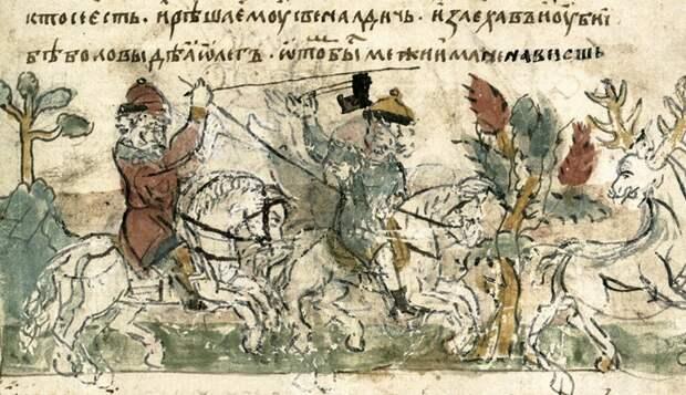 Убийство Люта Свенельдича (летописная миниатюра) (Иллюстрация из открытых источников)