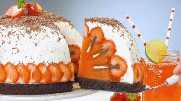 Фруктовый торт Клубника со сливками. Нежный, красивый и очень вкусный десерт 3