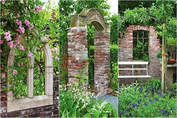 Разрушенная стена в саду